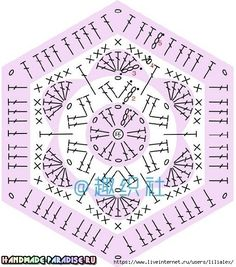 Crochet Blocks, Granny Square Crochet Pattern, Crochet Diagram, Crochet Chart, Crochet Motif, Crochet Stitches, Crochet African Flowers, Crochet Flower Patterns, Hand Embroidery Patterns