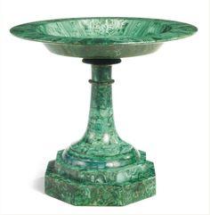 A Russian Neoclassical malachite tazza first half 19th century,  height 11 1/4 in.; diameter 12 1/2 in. 28.5 cm; 32 cm