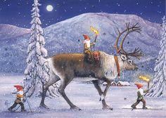 Winter Christmas Scenes, Swedish Christmas, Christmas Gnome, Father Christmas, Scandinavian Christmas, Christmas Pictures, Christmas Art, Vintage Christmas, Winter Magic