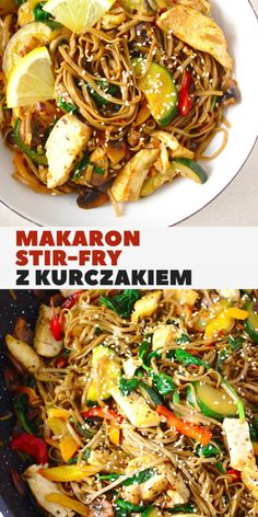 Stri fry pasta with chicken and vegetables in soy sauce. Buckwheat Soba noodles with juicy chicken and crispy vegetables. Buckwheat Soba Noodles, Best Chinese Food, Stir Fry Noodles, Best Cookbooks, Chow Mein, Cooking Recipes, Healthy Recipes, Chicken Pasta, Chicken And Vegetables