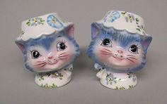 Vintage Lefton Blue Miss Priss Kitty Cat Salt & Pepper Shakers