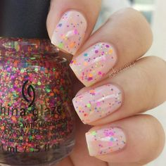 China Glaze 'Point Me to the Party' over OPI 'Bubble Bath'.