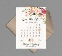 Save the Date Card, Calendar Printable, Boho Chic Wedding Announcement, Romantic, Rustic Floral, Watercolor Neutral Classy Matching Wedding Suite: www.etsy.com/listing/474499168 PLEASE NOTE: This item is a DIGITAL FILE. You are purchasing a digital file only. No physical item