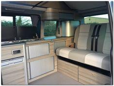 Modern Camper Conversion for VW and VW Renault Trafic and Mercedes Vito. T5 Camper, Vw T5, Campers, Vauxhall Vivaro Camper, Campervan Interior, Campervan Ideas, Bus Interior, Interior Ideas, Interior Inspiration