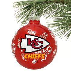 Kansas City Chiefs Traditional Glass Ball Ornament