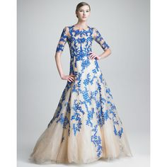 Monique Lhuillier Three-Quarter-Sleeve Tulle/Lace Gown ($11,490) ❤ liked on Polyvore