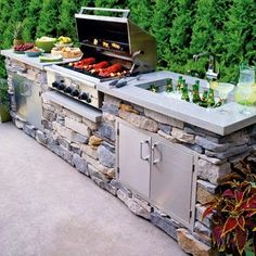 outdoor kitchen ideas, This is a great island idea for your outdoor living space. I really like the look of stones in the outdoor bbq area. With the lighter concrete counter top. Outdoor Rooms, Outdoor Living, Outdoor Patios, Built In Grill, Built In Braai, Outdoor Kitchen Design, Kitchen Decor, Out Door Kitchen Ideas, Small Outdoor Kitchens