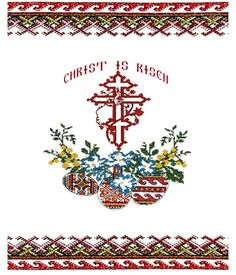 "- Easter Basket Cover ""Christ Is Risen"" Printed - Pysanky Eggs 3 Bar Cross Embroidery Patterns, Cross Stitch Patterns, Polish Easter, Faith Crafts, Holy Saturday, Orthodox Easter, Christ Is Risen, Easter Traditions, Embroidery Techniques"