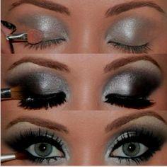 Silver eyeshadow.