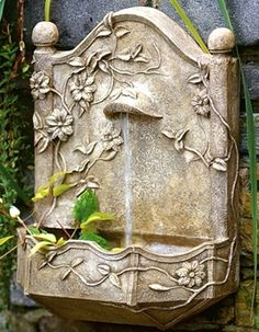 HenFeathers original designs: Clematis Vine Garden Wall Fountain Hand cast and finished with the finest materials in the USA. henfeathers.com #fountains #wallfountains #gardenfountains
