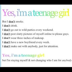 I mean really why does everyone think this is all we do! im kinda sick of it, just because we are pretty and a teenager doesnt mean we do any of this stuff!!!