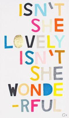 Isn't She Lovely... Stevie Wonder lyric as inspirational nursery art handmade by Castle & Things