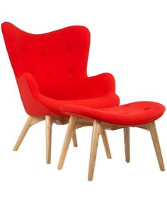 Paddington Deux Lounge Set in Atomic Red. This red is super vivd and happy. Great lines on this chair.