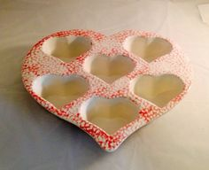 A personal favorite from my Etsy shop https://www.etsy.com/listing/263067464/heart-baking-pan-valentine-pottery-pink