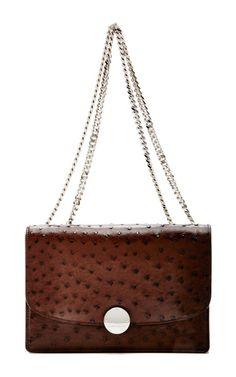 Espresso Ostrich Trouble Shoulder Bag by Marc Jacobs