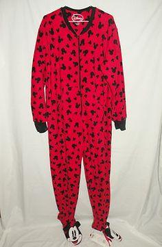 Disney Adult Large Footie Pajamas Red Black Mickey Mouse Fleece 12/14 AB