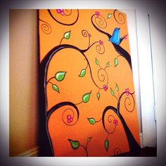 Large Original Acrylic Painting on Canvas. Whimsical 30 x 40 Bluebird Tree Branches Berries Nature Orange Acrylic Art, Acrylic Painting Canvas, Diy Painting, Painting & Drawing, Canvas Art, Canvas Ideas, Wal Art, Painting Inspiration, Color Inspiration