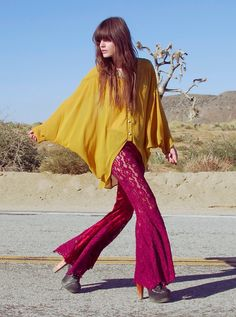 70's-style bell bottoms. It's always fun to dig up mom's closet, isn't it?