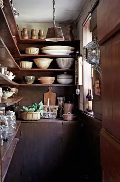 I love the look of open shelving in a pantry or kitchen, but these rustic spaces take it to a whole new level. So simple and so beautiful....