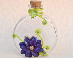 Polymer Clay Flower, Clay Flowers, Flower Vase, Diffuser Vase, Flower Decor, Flower Diffuser, Clay Decor, Polymer Clay, Decorated Bottle