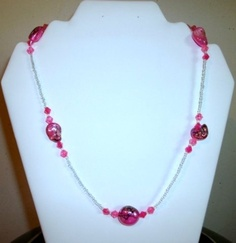 Hot Pink and Black Dichroic Bead Necklace by Culbertscreations, $30.00
