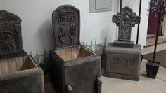 Tombstones made from styrofoam coolers - Halloween Haunted House / Haunted Forest Prop / Decor