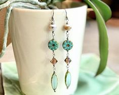 """Part of my Tropical Dreams Island Collection, """"Leilani"""".  These beautiful Czech Glass Super Long Beaded Dangle earrings are topped with individually unique Etched Agate Stone Beads.  No two are exactly alike!  They have a light, earthy & tropical feel, perfect for day or evening wear.  You'll love wearing them every chance you get or enjoy giving as a gift!  #jewelry #handmade #gift #earrings #czechbeads #beachy #tropical"""