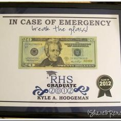In Case Of Emergency Money {Graduation Gift}    Graduation time is here, which means lots of parties and graduation gifts. And since most grads like money, give them this fun gift instead of just putting it in a card. You can even personalize it with their name and school.