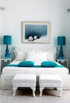 blue & white bedroom