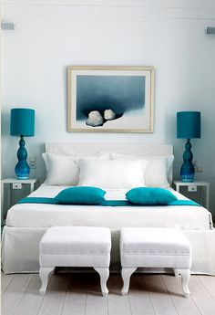 White + Turquoise = LOVE! Especially like the bedside table lamps <3