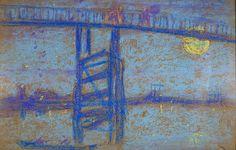 Nocturene - Battersea Bridge, pastel sketch by Whistler, 1872