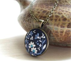 Blue Necklace Blue White Floral Necklace Blue by Floraljewel