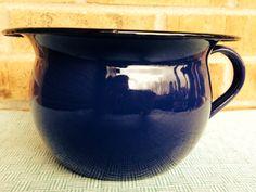 Incredible Enamelware Bowl with Handle - Cobalt Blue - Yugoslavia on Etsy, $20.95
