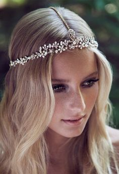 boho themed wedding hairstyle ideas with romantic headpieces