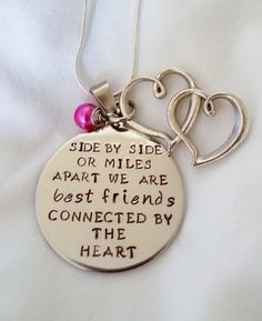 side by side or miles apart we are best friends connected by the heart hand stamped necklace by TempleStamping Perfect for Christmas or Birthday gifts