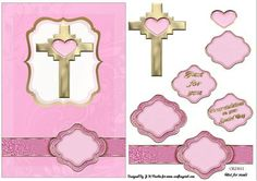 Pink Cross Christening Decoupage Card on Craftsuprint designed by Jessica Hayley Martin - Will fit an A5 Card BlankJust cut out all the pieces and use foam pads or silicone glue to Decoupage.For more of my Designs please click my name, I update regularly. - Now available for download!