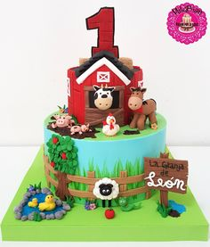 Merry Farm Cake Sweet By Milebian CakesdecorYou can find Farm cake and more on our website.Merry Farm Cake Sweet By Milebian Cakesdecor Farm Birthday Cakes, Animal Birthday Cakes, Farm Animal Birthday, 2nd Birthday, Birthday Ideas, Animal Cakes For Kids, Farm Animal Cakes, Farm Animals, Barnyard Cake
