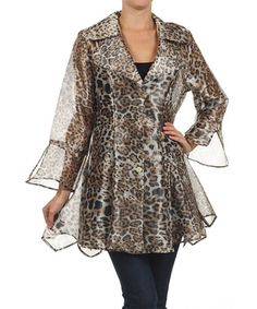 Another great find on #zulily! Brown Leopard Jacket - Plus by Come N See #zulilyfinds
