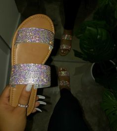 True To Size Available In Three Colors super cute for summer or any perfect occasion Bling Sandals, Rhinestone Sandals, Cute Sandals, Cute Shoes, Me Too Shoes, Shoes Sandals, Shoes Sneakers, Summer Sandals, Flats