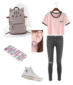 """Untitled #13"" by iileighah on Polyvore featuring beauty, Frame Denim, Converse and Pusheen"