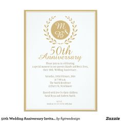 Golden Th Anniversary Invitation Black  White  Invitations