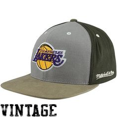 "3e33f652096 Mitchell  amp  Ness Los Angeles Lakers Clay Adjustable Snapback Hat â ""  Graphite"