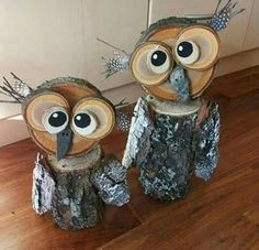 Owl Yard Art from Tree Stumps! Creative ways to add color and joy to a garden, porch, or yard with DIY Yard Art and Garden Ideas! Repurposed ideas for. DIY Yard Art and Garden Ideas Winter Wood Crafts, Wood Log Crafts, Winter Diy, Log Wood Projects, Cabin Crafts, Winter Garden, Pallet Projects, Owl Crafts, Crafts To Sell