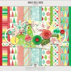 This fun little mini kit is perfect for almost all of your Christmas holiday-related scrapbook layouts and hybrid projects. 15 high-quality papers (8 patterned, 7 solid) & 25 coordinating elements.