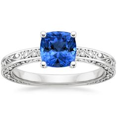 Sapphire Delicate Antique Scroll Diamond Ring in 18K White Gold, 6x6mm Cushion Blue Sapphire