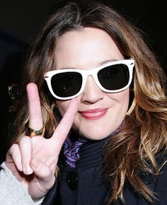 For trendy look to balance a round face, take a page from Drew Barrymore's look book and try eyebobs' Fizz Ed polarized sunglasses.