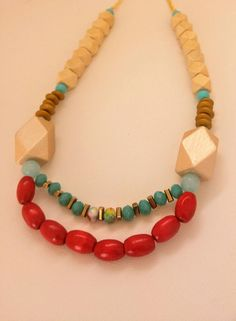 Red and Turquoise Necklace, Wooden Necklece, Statement Necklace, Turquoise Necklace, Romantic Necklace, Gift for her, Birthday Gift by GalitDesigns on Etsy