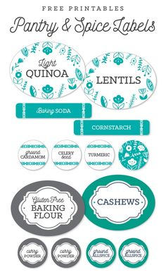 Free pantry printable labels by @liag including spice jar labels