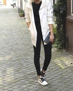 White jacket and shoes.