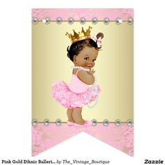 Pink Gold Ethnic Ballerina Baby Shower Bunting Flags